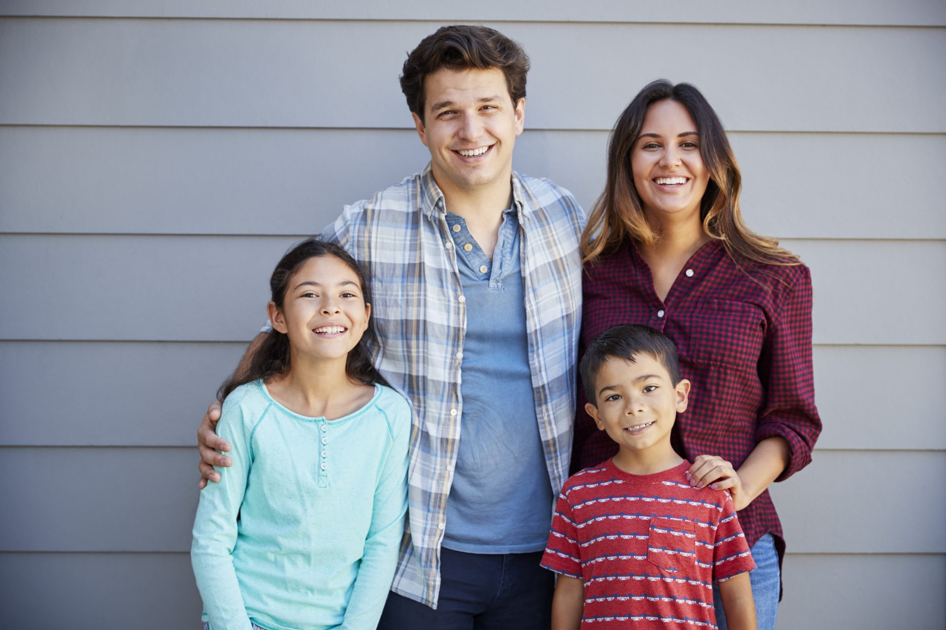 Family buying their first home